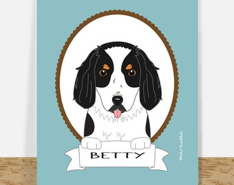 Custom Pet Portrait - Dog Drawing - Personalized Cavalier King Charles Portrait - Printable Birthday Pet Lover Gift