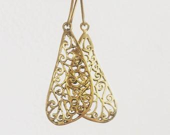 Wing dangle earrings, butterfly earrings, butterfly wing brass earrings, gold earrings, gypsy esrrings, earrings, nature earrings.