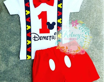 Mickey Mouse birthday Outfit suspender tshirt/onesie with matching shorts Choose your sz.