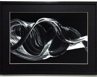 Black White Abstract Painting  Acrylic on Canvas Framed Ready to hang !!!