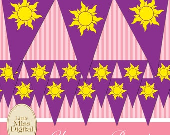 Tangled Rapunzel Bunting Flag Birthday Party Bedroom Playroom Disney Princess Purple Yellow Sun Triangle Download Printable DIY