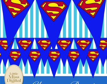 Superman Bunting Flag Party Superhero Bedroom Playroom Blue Red Yellow Triangle Download Printable DIY