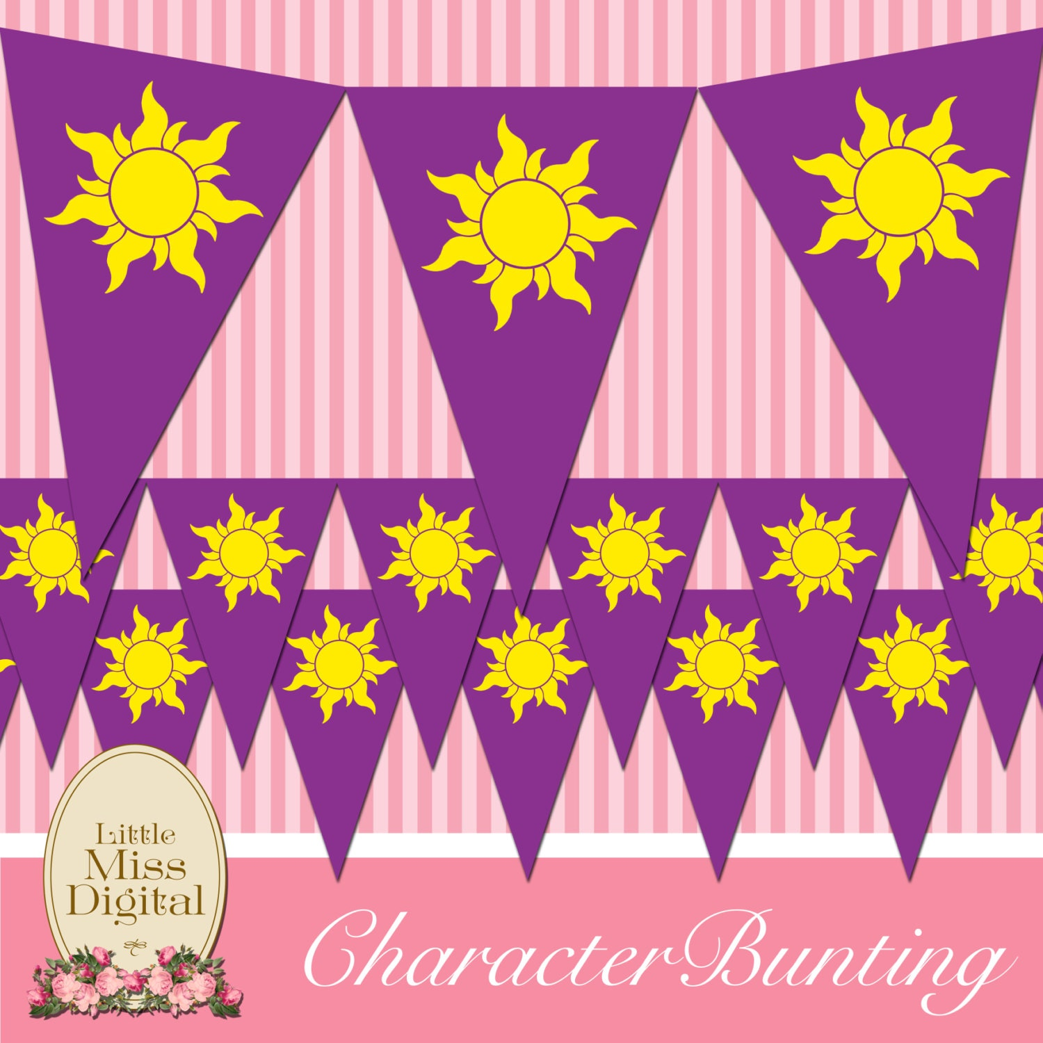 Tangled Rapunzel Bunting Flag Birthday Party Bedroom Playroom