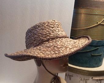 20% OFF SALE Vintage Wide Brim Natural Seaweed Straw Hat
