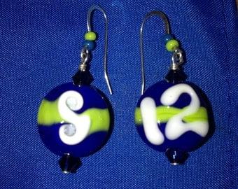 Seattle Seahawk bead earrings