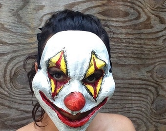 Scary Clown Mask Horror Venetian Carnival Mask Handmade Paper Mache Mask