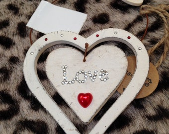 Shabby Chic wooden hanging decorated heart plaques