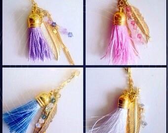 Handmade dreamcatcher charm with swarovski crystals and tassel