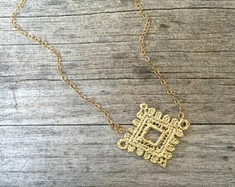 40% OFF!!  Gold Lace Necklace - Unique Necklace - Dainty Necklace - Vintage Inspired Necklace - Gold Necklace - Simple Necklace