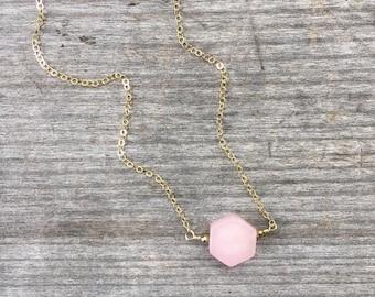 Rose Quartz Hexagon Necklace -Soft Pink Hexagon Necklace -Minimalist Necklace -Hex Necklace -Bridesmaid Necklace - Rose Quartz Necklace