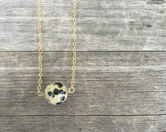 Dalmatian Bead Necklace - Dalmatian Jaspar - Layering necklace - Jaspar Necklace - Jaspar Bead Necklace - Layering Necklace - Gift for Her