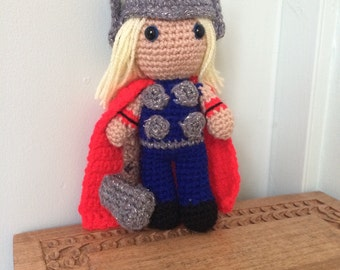 Thor Amigurumi Figure Doll with Hammer