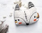 Fox pillow, cotton material, Original hand acrylic painted.