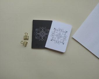 Mini Notebook Set , Travel Notebook  , Pocket  journal , Gift ideas , geometric pattern , small jotter , Yoga Journal