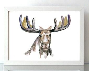Moose Art watercolor painting - giclee print - Moose drawing - illustration deer portrait - sumi e moose animal painting aquarelle