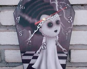 The Bride (Bride of Frankenstein) - Wooden wall coffin shaped clock