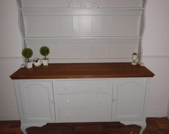 Large oak welsh dresser refurbished in pavilion gray