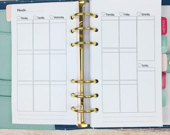 PERSONAL SIZE Planner Insert - Blank Weekly Layout