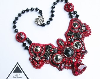 Beadwork Necklace Red Black Bead Embroidery Design Jewellery Elegant Beaded Jewelry Embroidered Necklace Collier Fashion Accessory Handmade