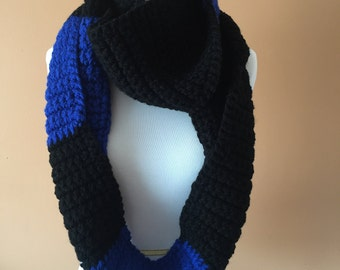 Black and Blue Infinity Scarf, Chunky Infinity Scarf