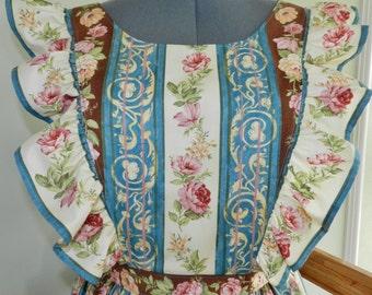 Victorian Rose Vertical Stripe pinafore apron