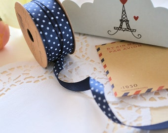 NAVY BLUE Ribbon Reel With White Dots/ Craft Ribbon/ Gift Wrapping/3m