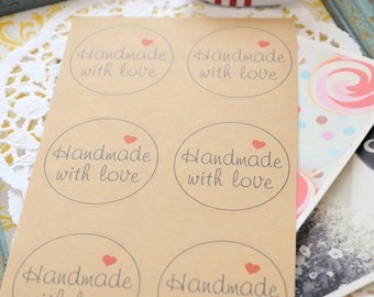 Kraft Paper HANDMADE WITH LOVE Printed Round Gift Stickers/ Labels/Gift Wrapping/1 Sheet/10 Stickers