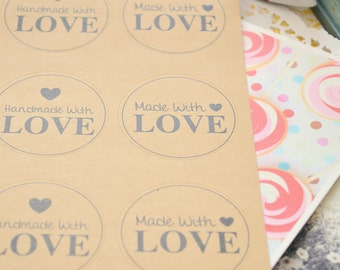 Kraft MADE WITH LOVE Round Label Stickers/Gift Wrapping/10Pcs/1 Sheet