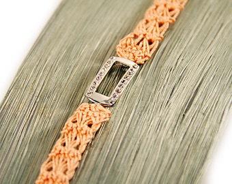 rhinestone bracelet - apricot - crochet bracelet - czech crystal - fiber bracelet - crystal bracelet - lace jewelry - MudenoMade