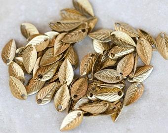 1696_Gold pendant 7.5х4 mm, Leaves pendant, Metal pendant, Golden metal findings, Metal jewelry component, Metal pendant component_100 pcs.