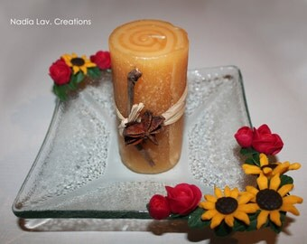 Candleholder with handmade sunflower and roses