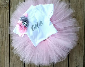 One Year Old Girl Birthday Outfit, First Birthday Tutu Dress, 1 Year Old Girl Outfit, Tutu Birthday Outfit, Pageant Dress, One Year Old Girl