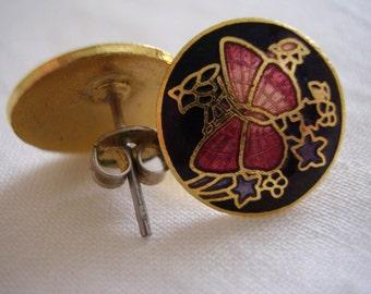 Enamel Earrings Black & Pink Butterfly Pierced Vintage Enamelled Studs