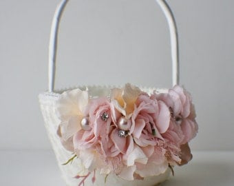 Wedding Flower Girl Basket, Silk Wedding Flowers, Silk Roses, Custom Colors, Flower Girl
