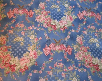 Robyn Pandolph's Faded Splendor fabric Blue Background American Flag Patriotic Fabric Americana Fabric Floral Pattern BTY OOP Hard to Find