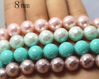 8 mm South Sea Shell Pearls Round Beads,128 faceted Round Beads,15 inches 1 strand