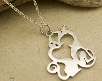 Sterling Silver Cat and Dog Pendant Silver Pendant