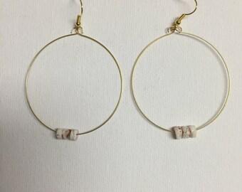 Large Gold Shell Hoop Earrings