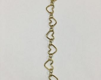 Gold Heart Link Bracelet