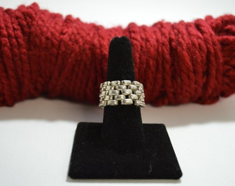 Very Unusual FLEXIBLE Link Band Ring in Sterling Silver