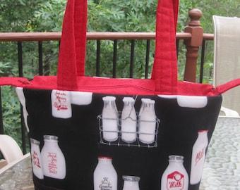 Handmade Old Fashioned Milk Bottle Handbag with zippered top & phone pocket