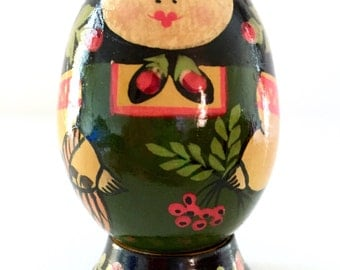 Floral & Berry Maidens Nesting Doll Egg with Stand, Solid Detailed Floral Wooden Matryoshka Doll, Miniature Kitschy Doll.
