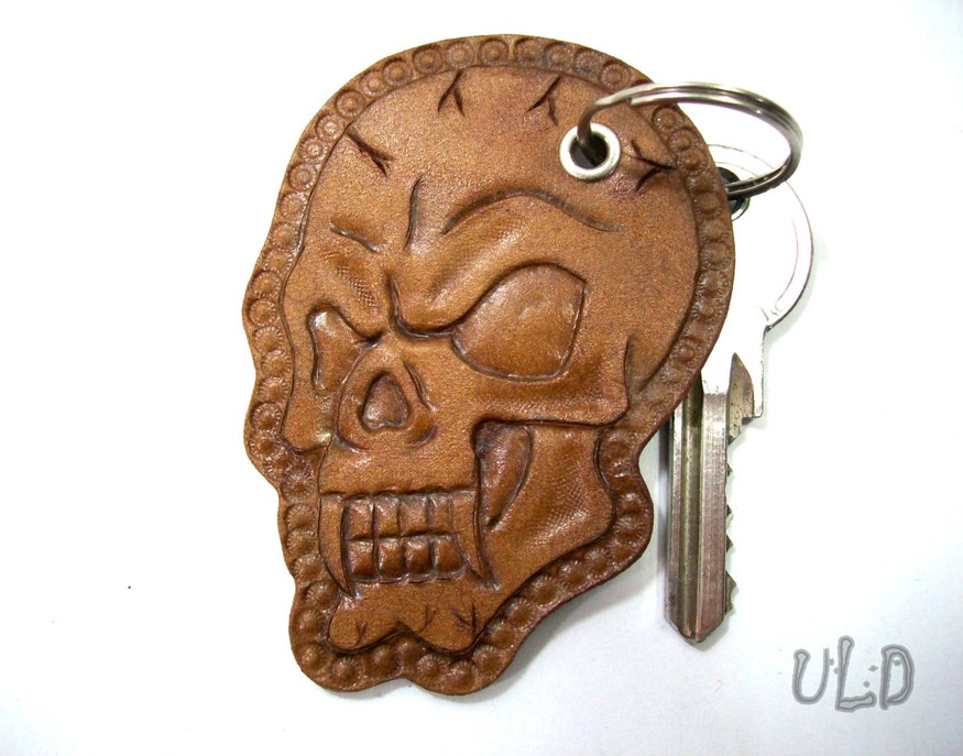 Handmade Leather Skull Keychain, Hand Tooled Skull Gift