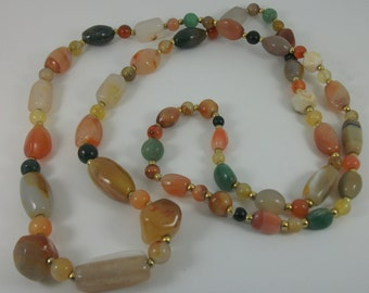 Vintage Necklace, Bead Necklace,  Art Deco Revival Necklace, Semi Precious Beads, Long Necklace