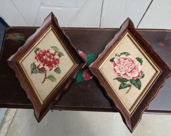 2- VINTAGE Triangle Small NEEDLEPOINT Flower Pictures Wood Frame Handmade