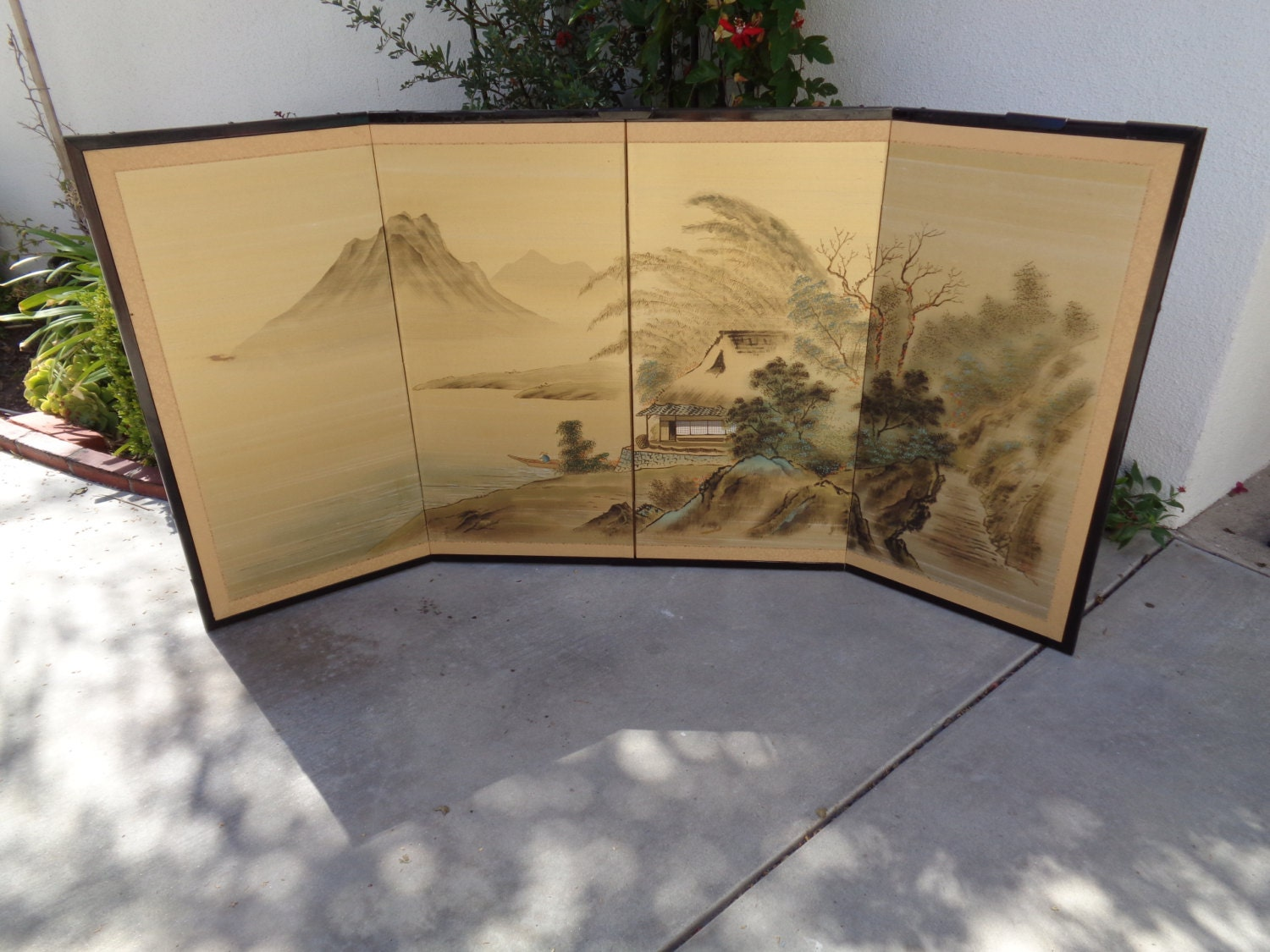 Silk Screen Screens : Antique japanese silk folding screen panel w wall by