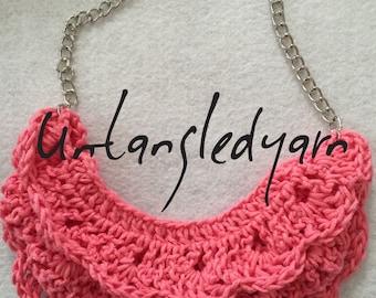 Crochet bib necklace made with bamboo yarn