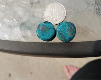 16mm(5/8) Chrysocolla in Malachite Plugs