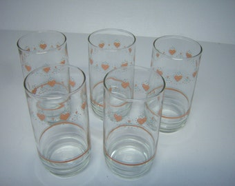 Forever Yours Corelle Glasses, 10 Drinking Glasses, Vintage Glasses, Matches Corelle Dishes, Good Used Condition,