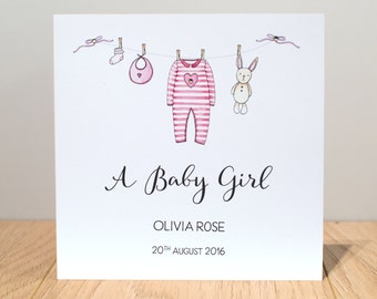 Personalised New Baby Girl Card - Baby Girl Card - Personalised New Baby Card - Personalised Baby Cards - New Baby Card
